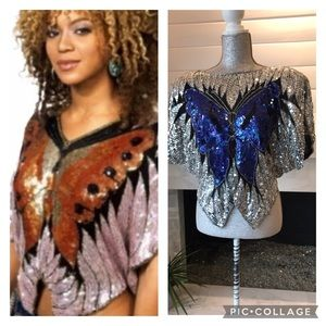 Vintage Sequin & Beaded Silk Butterfly Top S/M EUC